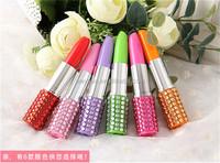 500pcs Rhinestone Sexy Lipstick Shape Office Stationery Ballpoint Ball Pen DHL Freeshipping