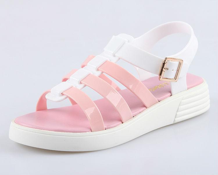 2015 sweet girl new produts d 39 t plage pvc gel e sandale en plastique plat sangle sandale. Black Bedroom Furniture Sets. Home Design Ideas
