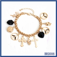 Hot New Products 2016 Italian The Mediterranean style heart rate and cross pendant charm bracelet