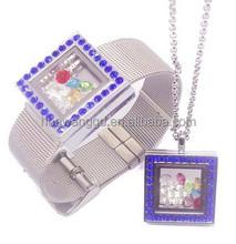 China manufacturer wholesale fashion jewelry set metal square shape living memory floating locket jewelry set 2015