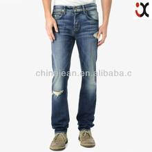 2015 fashion blue ripped style straight leg men baggy jeans JXQ273