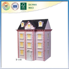 Wood Material Pink Multilayer Doll House Toy for Chilren Gift