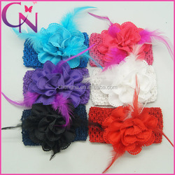 Feather Baby Infant Headband Boutique Crochet Headband With Hair Flower Bow (CNHB-1309082)