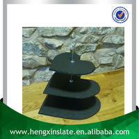 Factory Direct Natural Edge 35*33*31cm Heart Shape Black 3 Tier Slate Wedding Stand For Cake