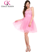 2015 Grace Karin Newest Nice Design Girls Bling Bling Beaded Short Pink Prom Dress CL6151-2#