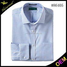 2015 fashion casual men shirts with blue and white plaid for wholesale