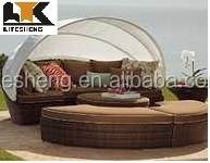 2015 Hot Sale Modern Outdoor Rattan Furniture Lounge Bed Sun Bed