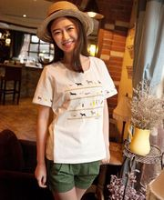 Japanese small fresh dog prints on white h-beaded round neck short sleeve cotton t-shirt Gilrl Apparel T-Shirts