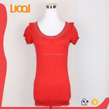 elastic bottom blouses big round neck blouses for ladies red blouses