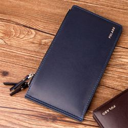 2014 new men's wallet card package wallet phone package Guangzhou wholesale men's slim double zipper wallet embossed dark blue b