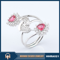 2015 Latest fashion double red stone full finger ring 925 silver ring diamond