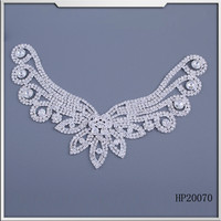 2015 handmade wings shape patch rhinestone applique for bridal dress