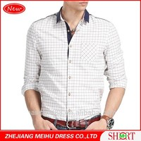 men's latest fashion long sleeve contrast color slim fit new model shirts