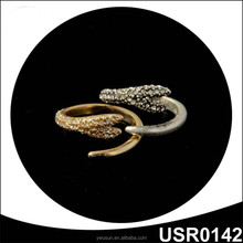 Animal Jewelry Antique Plated Snake Shape Ring With Rhinestone