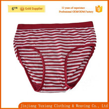 OEM service new design stripe yarn dyed young girl 100% cotton panties sales