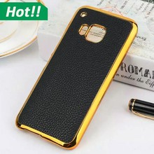 New Arrival Luxury Gold Side Back Cases for HTC M9 M8 Case Leather+ Plastic Hard Shell
