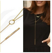 Exquisite metal bar small circle tassel necklace multilayer pendant necklace sweater chain jewelry