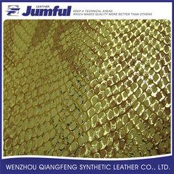 2015 Custom printed scale-like PVC metallic leather fabric