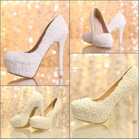 Wholesale Hand Made High Low Heel Platform Pearl Lace Pumps Party dress Fashion Sexy White Bridesmaid Bridal Wedding Shoes ZH045