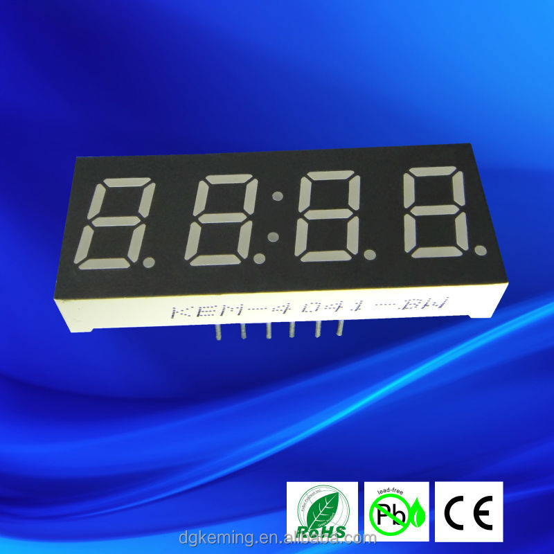 White 0.4 inch four digit 7 segment led display for clock sign