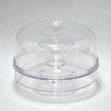 Rotated clear plastic cake plate with cover
