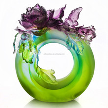 Artbay colored glaze crystal glass green round with purple penoy flower sculpture