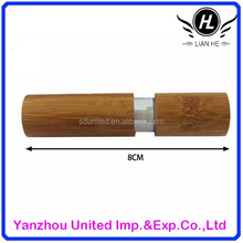New design 10ml bamboo and glass material lip gloss bottle with brush