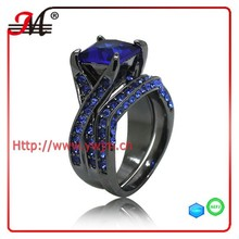 R7589 fashion black gold plated blue sapphire cz zircon ring blue sapphire ring