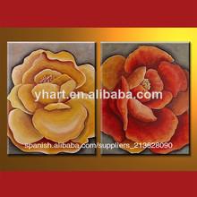 Pintura al óleo moderna de la flor para el diseño interior de su casa