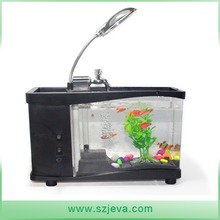 USB desktop mini LCD display fish tank aquarium with clock