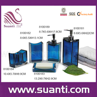 Factory price 5pcs transparent european resin blue bathroom accessories set