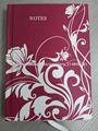 rojo patrón de flores tapa dura notebook papel rayado