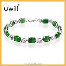 Women Fashion Jewelry Silver 925 Material With Real Platinum Plated Green And Light Amethyst Crystal Connected Handmade Bracelet