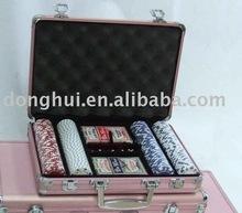 200 pcs Pink aluminum poker chip case