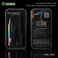 Wholesale E Cigarette ROHS FCC CE GS EGO II 2200mah Rainbow Mega KIT china rainbow vape starter kits wholesale vaporize