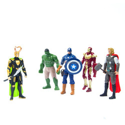 Hot sales HQ 6'' 5pc a set Marvel the avenger toys plastic action figures with light & weapon