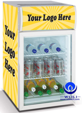 Hinged glass door table top mini refrigerated cabinet