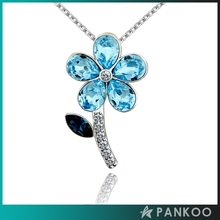 925 Sterling Silver Blue Glass Stone Flower With Zircon Necklace Pendant