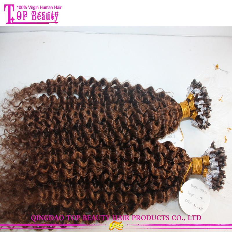 Kinky Curly Double Beads Brazilian Remy Human Hair Loop Micro Ring