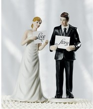"""Read My Sign"" Groom Figurine wedding cake topper"