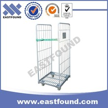 Heavy Loading Transport Wire Rolling Cart,4 Wheels Steel Cage Trolley