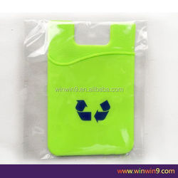 Promational gift credit card holder fabrics and mobile phone 3m sticky credit card holder fabrics and