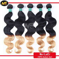 hot selling two tone ombre remy brazilian human body wave hair weft