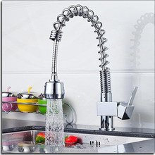 high quality brass body chrome plated pull out kitchen tap