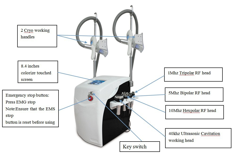 2016 máquina de cryolipolysis, 6 alças cryolipolysis & cavitação rf, criolipolisis/crioterapia emagrecimento máquina de congelação de gordura