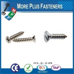 """Taiwan Tapping Screw #10-12 x 3/4"""" Square Drive Pan Head Grade 18-8 Type A Point Stainless Steel Sheet Metal Screw"""
