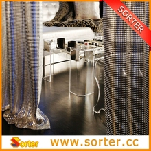 metallic decoration drapery, metal fabric, metal curtain