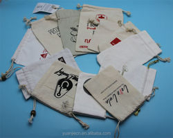 Yuanjie factory customized logo best selling cheap small fabric drawstring bags and small gift cotton bags