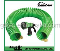 Expanding Hose Green Flexible Expandable Safe Polyurethane Curly Spiral Coil Garden Outdoor Home, Garden, Supply