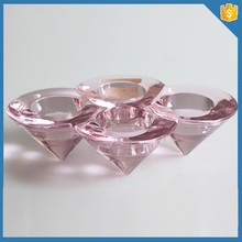 Pink 4 holes cone-shape cheap glass traditional candle holder